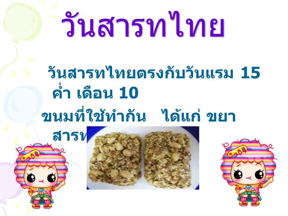 ขนมที่ใช้ในเทศกาลต่าง ๆ ประเพณีสงกรานต์ งานตรุษสงกรานต์ ตรง กับวันที่ 13 เมษายน ของทุกปี คน ไทยถือว่าเป็น วันขึ้นปีใหม่ของไทย ขนมที่ใช้ทำได้แก่ 1.