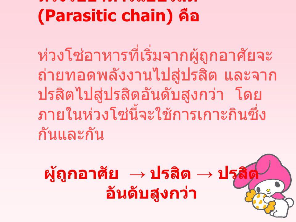 ห่วงโซ่อาหารแบปรสิต (Parasitic chain) คือ ห่วงโซ่อาหารที่เริ่มจากผู้ถูกอาศัยจะ ถ่ายทอดพลังงานไปสู่ปรสิต และจาก ปรสิตไปสู่ปรสิตอันดับสูงกว่า โดย ภายในห