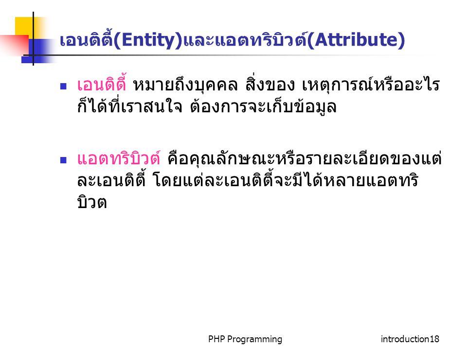 PHP Programmingintroduction18 เอนติตี้(Entity)และแอตทริบิวต์(Attribute) เอนติตี้ หมายถึงบุคคล สิ่งของ เหตุการณ์หรืออะไร ก็ได้ที่เราสนใจ ต้องการจะเก็บข้อมูล แอตทริบิวต์ คือคุณลักษณะหรือรายละเอียดของแต่ ละเอนติตี้ โดยแต่ละเอนติตี้จะมีได้หลายแอตทริ บิวต