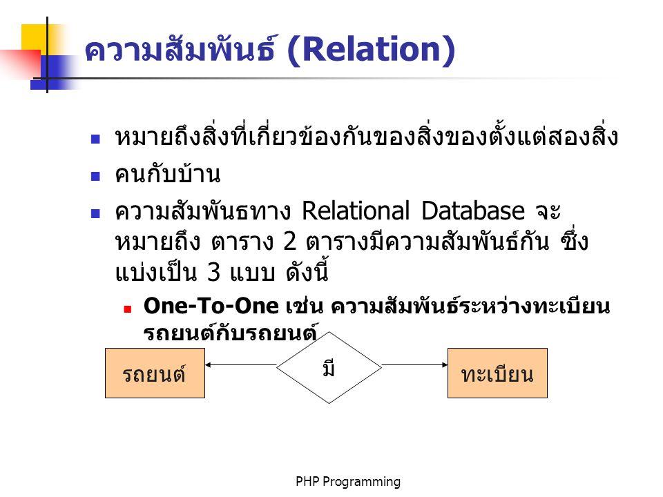 PHP Programming ความสัมพันธ์ (Relation) หมายถึงสิ่งที่เกี่ยวข้องกันของสิ่งของตั้งแต่สองสิ่ง คนกับบ้าน ความสัมพันธทาง Relational Database จะ หมายถึง ตาราง 2 ตารางมีความสัมพันธ์กัน ซึ่ง แบ่งเป็น 3 แบบ ดังนี้ One-To-One เช่น ความสัมพันธ์ระหว่างทะเบียน รถยนต์กับรถยนต์ รถยนต์ มี ทะเบียน
