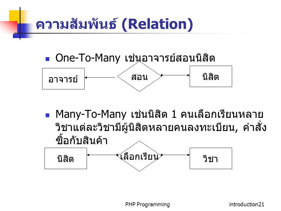 PHP Programmingintroduction21 ความสัมพันธ์ (Relation) One-To-Many เช่นอาจารย์สอนนิสิต Many-To-Many เช่นนิสิต 1 คนเลือกเรียนหลาย วิชาแต่ละวิชามีผู้นิสิตหลายคนลงทะเบียน, คำสั่ง ซื้อกับสินค้า อาจารย์ สอน นิสิต เลือกเรียน วิชา