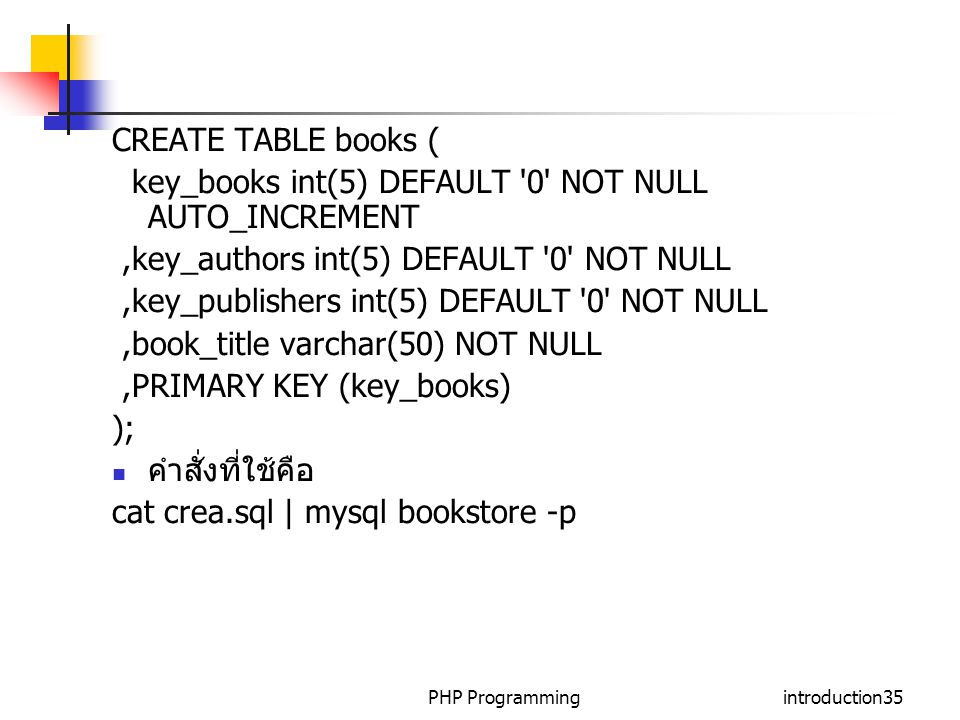 PHP Programmingintroduction35 CREATE TABLE books ( key_books int(5) DEFAULT '0' NOT NULL AUTO_INCREMENT,key_authors int(5) DEFAULT '0' NOT NULL,key_pu