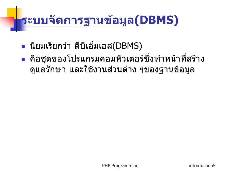 PHP Programmingintroduction5 ระบบจัดการฐานข้อมูล (DBMS) นิยมเรียกว่า ดีบีเอ็มเอส (DBMS) คือชุดของโปรแกรมคอมพิวเตอร์ซึ่งทำหน้าที่สร้าง ดูแลรักษา และใช้งานส่วนต่าง ๆของฐานข้อมูล