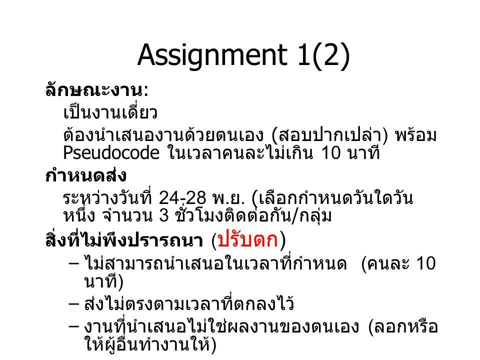 Assignment 1(2) ลักษณะงาน : เป็นงานเดี่ยว ต้องนำเสนองานด้วยตนเอง ( สอบปากเปล่า ) พร้อม Pseudocode ในเวลาคนละไม่เกิน 10 นาที กำหนดส่ง ระหว่างวันที่ 24-28 พ.