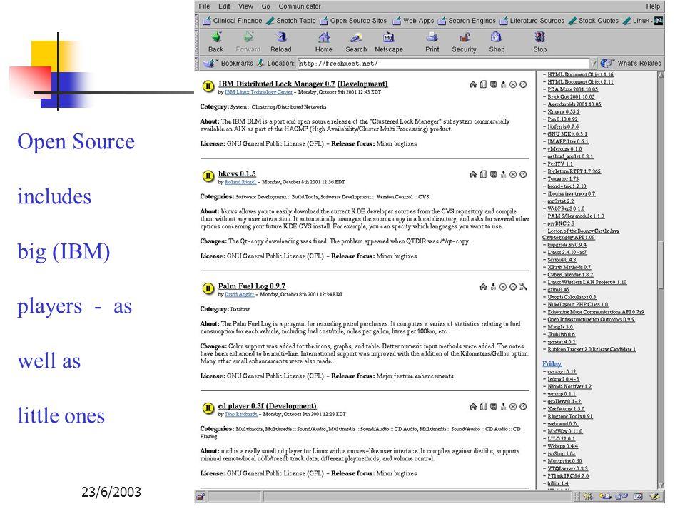 Opensource กับการพัฒนาเทคโนโลยีสารสนเทศของไทย 23/6/2003104 Open Source includes big (IBM) players - as well as little ones