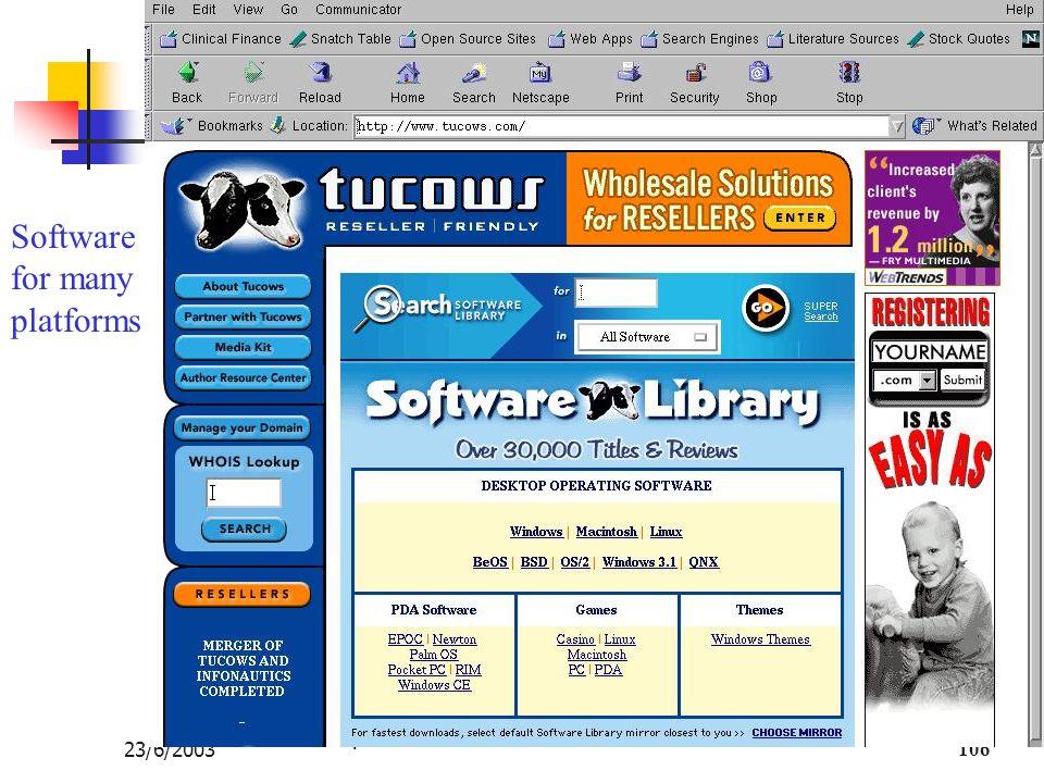 Opensource กับการพัฒนาเทคโนโลยีสารสนเทศของไทย 23/6/2003106 Software for many platforms