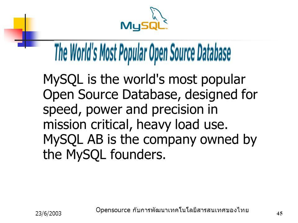 Opensource กับการพัฒนาเทคโนโลยีสารสนเทศของไทย 23/6/200345 MySQL is the world's most popular Open Source Database, designed for speed, power and precis