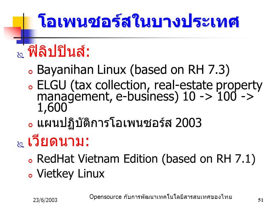 Opensource กับการพัฒนาเทคโนโลยีสารสนเทศของไทย 23/6/200351 โอเพนซอร์สในบางประเทศ  ฟิลิปปินส์: Bayanihan Linux (based on RH 7.3) ELGU (tax collection, real-estate property management, e-business) 10 -> 100 -> 1,600 แผนปฏิบัติการโอเพนซอร์ส 2003  เวียดนาม: RedHat Vietnam Edition (based on RH 7.1) Vietkey Linux