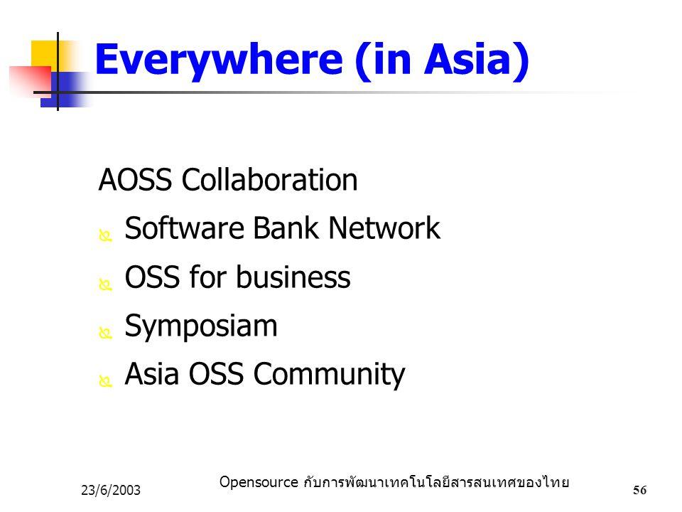 Opensource กับการพัฒนาเทคโนโลยีสารสนเทศของไทย 23/6/200356 Everywhere (in Asia) AOSS Collaboration  Software Bank Network  OSS for business  Symposiam  Asia OSS Community
