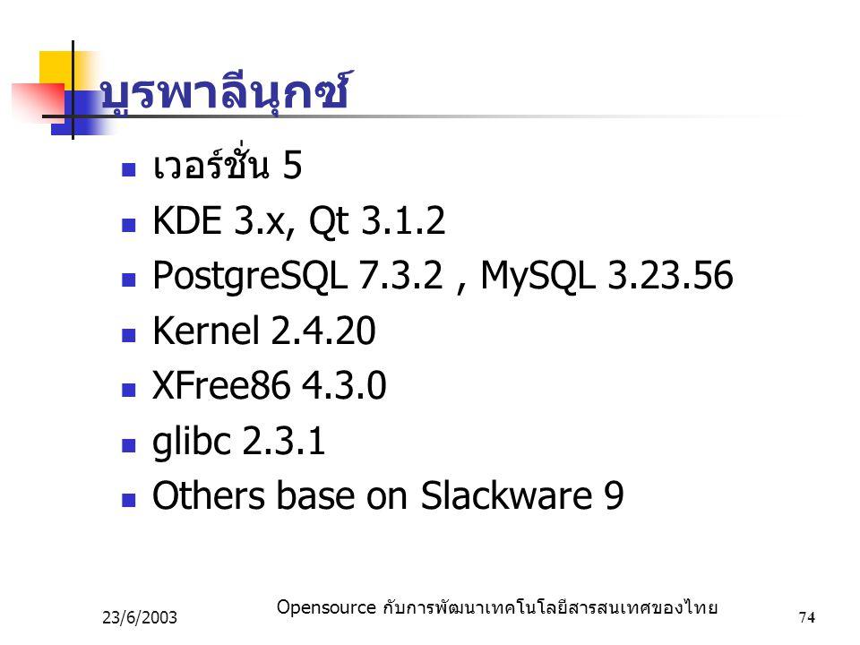Opensource กับการพัฒนาเทคโนโลยีสารสนเทศของไทย 23/6/200374 บูรพาลีนุกซ์ เวอร์ชั่น 5 KDE 3.x, Qt 3.1.2 PostgreSQL 7.3.2, MySQL 3.23.56 Kernel 2.4.20 XFree86 4.3.0 glibc 2.3.1 Others base on Slackware 9