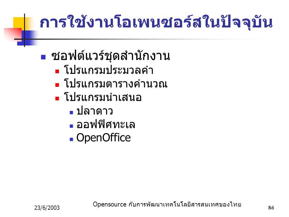 Opensource กับการพัฒนาเทคโนโลยีสารสนเทศของไทย 23/6/200386 การใช้งานโอเพนซอร์สในปัจจุบัน ซอฟต์แวร์ชุดสำนักงาน โปรแกรมประมวลคำ โปรแกรมตารางคำนวณ โปรแกรมนำเสนอ ปลาดาว ออฟฟิศทะเล OpenOffice
