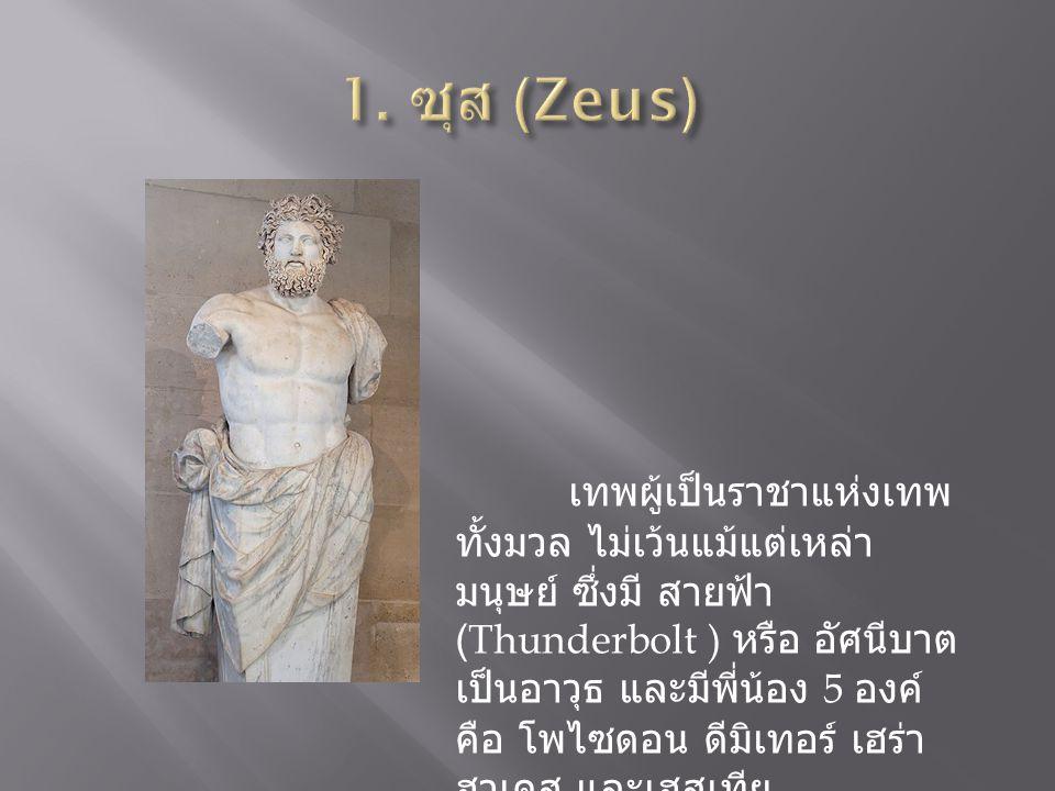 เทพผู้เป็นราชาแห่งเทพ ทั้งมวล ไม่เว้นแม้แต่เหล่า มนุษย์ ซึ่งมี สายฟ้า (Thunderbolt ) หรือ อัศนีบาต เป็นอาวุธ และมีพี่น้อง 5 องค์ คือ โพไซดอน ดีมิเทอร์