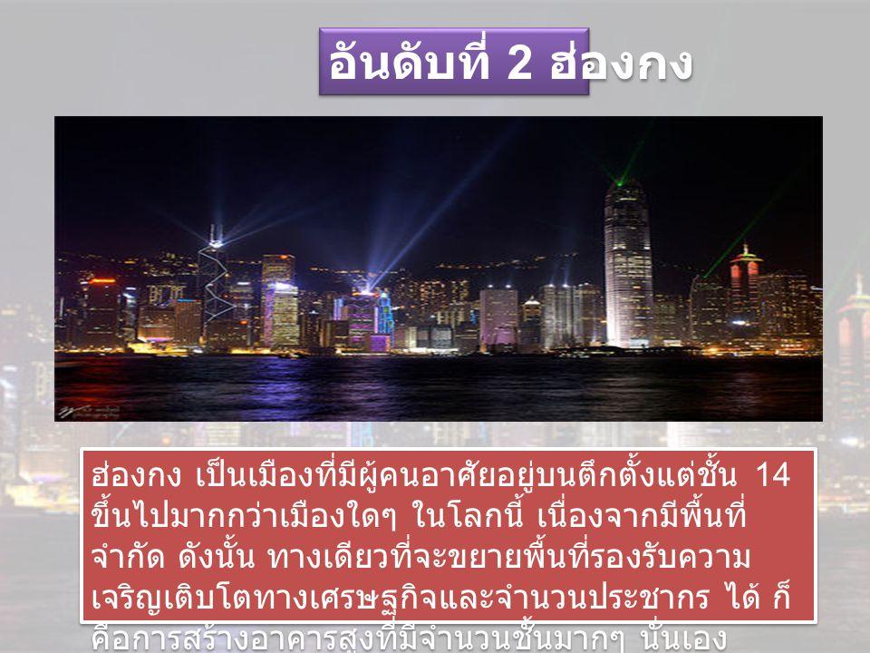 อันดับที่ 2 ฮ่องกง ฮ่องกง เป็นเมืองที่มีผู้คนอาศัยอยู่บนตึกตั้งแต่ชั้น 14 ขึ้นไปมากกว่าเมืองใดๆ ในโลกนี้ เนื่องจากมีพื้นที่ จำกัด ดังนั้น ทางเดียวที่จะขยายพื้นที่รองรับความ เจริญเติบโตทางเศรษฐกิจและจำนวนประชากร ได้ ก็ คือการสร้างอาคารสูงที่มีจำนวนชั้นมากๆ นั่นเอง