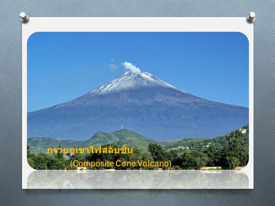 แบบที่ 2 ภูเขาไฟรูปโล่ (Shield Volcano) เป็นภูเขาไฟที่มีขนาดใหญ่ โดย พื้นฐานแล้วภูเขาไฟชนิดนี้เกิดจาก ลาวาชนิดบาซอลท์ที่ไหลด้วยความ หนืดต่ำ ลาวาที่ไหลมาจากปล่อง กลาง และไม่กองสูงชัน เหมือนภูเขา ไฟชนิดกรวยสลับชั้น ภูเขาไฟชนิดนี้ มักจะเป็นภูเขาไฟที่ใหญ่ เช่น ภูเขา ไฟ Mauna Loa ( ฮาวาย ) ฮาวาย