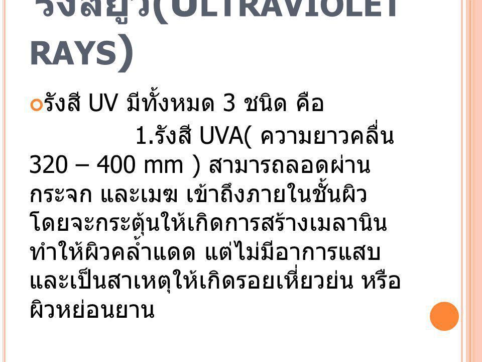 รังสียูวี (U LTRAVIOLET RAYS ) รังสี UV มีทั้งหมด 3 ชนิด คือ 1. รังสี UVA( ความยาวคลื่น 320 – 400 mm ) สามารถลอดผ่าน กระจก และเมฆ เข้าถึงภายในชั้นผิว
