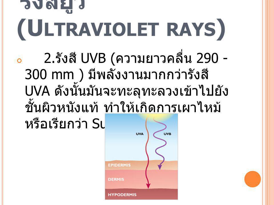 รังสียูวี (U LTRAVIOLET RAYS ) 2. รังสี UVB ( ความยาวคลื่น 290 - 300 mm ) มีพลังงานมากกว่ารังสี UVA ดังนั้นมันจะทะลุทะลวงเข้าไปยัง ชั้นผิวหนังแท้ ทำให