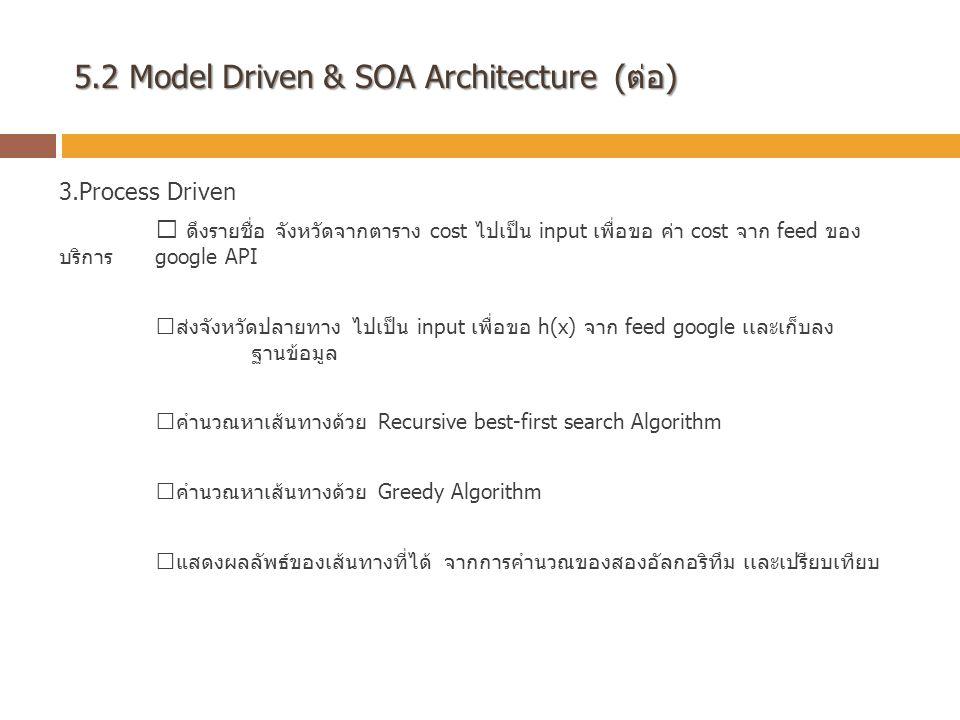 5.2 Model Driven & SOA Architecture (ต่อ) 3.Process Driven  ดึงรายชื่อ จังหวัดจากตาราง cost ไปเป็น input เพื่อขอ ค่า cost จาก feed ของ บริการ google API  ส่งจังหวัดปลายทาง ไปเป็น input เพื่อขอ h(x) จาก feed google เเละเก็บลง ฐานข้อมูล  คำนวณหาเส้นทางด้วย Recursive best-first search Algorithm  คำนวณหาเส้นทางด้วย Greedy Algorithm  แสดงผลลัพธ์ของเส้นทางที่ได้ จากการคำนวณของสองอัลกอริทึม เเละเปรียบเทียบ