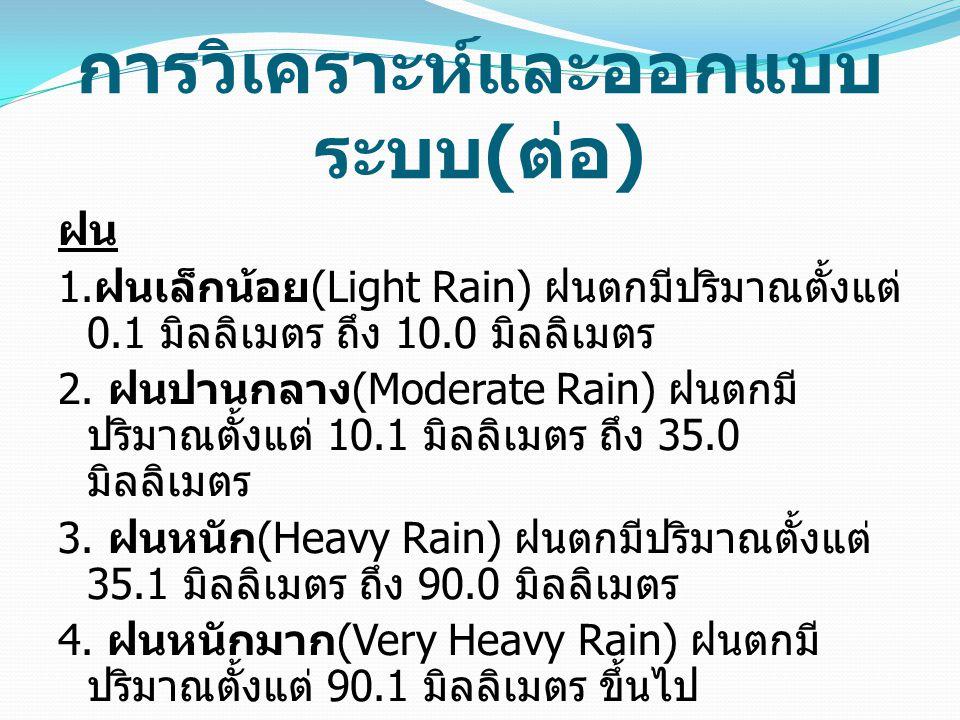 การวิเคราะห์และออกแบบ ระบบ ( ต่อ ) ฝน 1. ฝนเล็กน้อย (Light Rain) ฝนตกมีปริมาณตั้งแต่ 0.1 มิลลิเมตร ถึง 10.0 มิลลิเมตร 2. ฝนปานกลาง (Moderate Rain) ฝนต