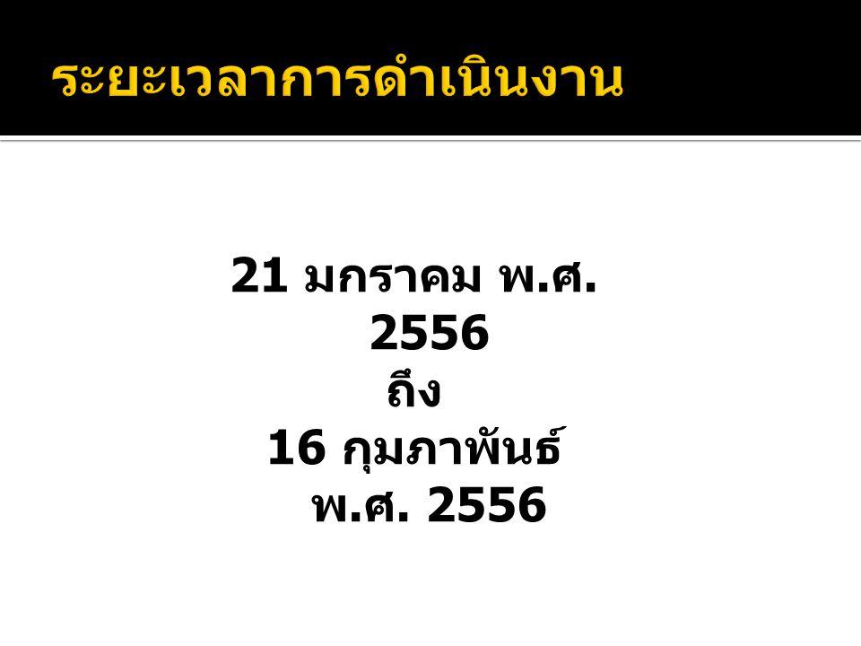 21 มกราคม พ. ศ. 2556 ถึง 16 กุมภาพันธ์ พ. ศ. 2556