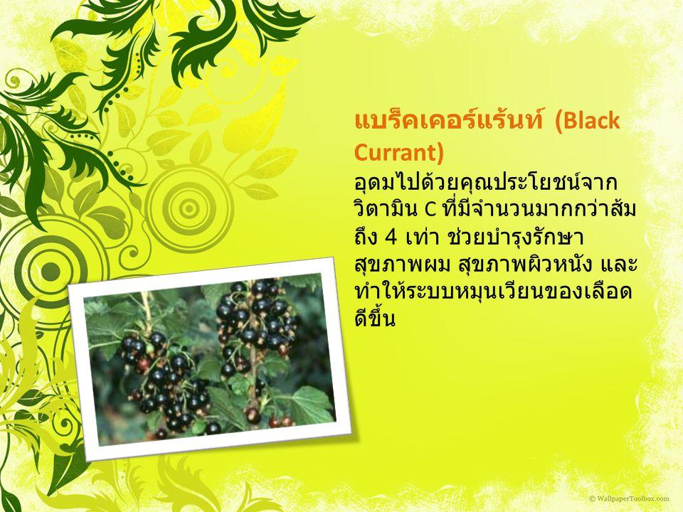 แบร็คเคอร์แร้นท์ (Black Currant) อุดมไปด้วยคุณประโยชน์จาก วิตามิน C ที่มีจำนวนมากกว่าส้ม ถึง 4 เท่า ช่วยบำรุงรักษา สุขภาพผม สุขภาพผิวหนัง และ ทำให้ระบ