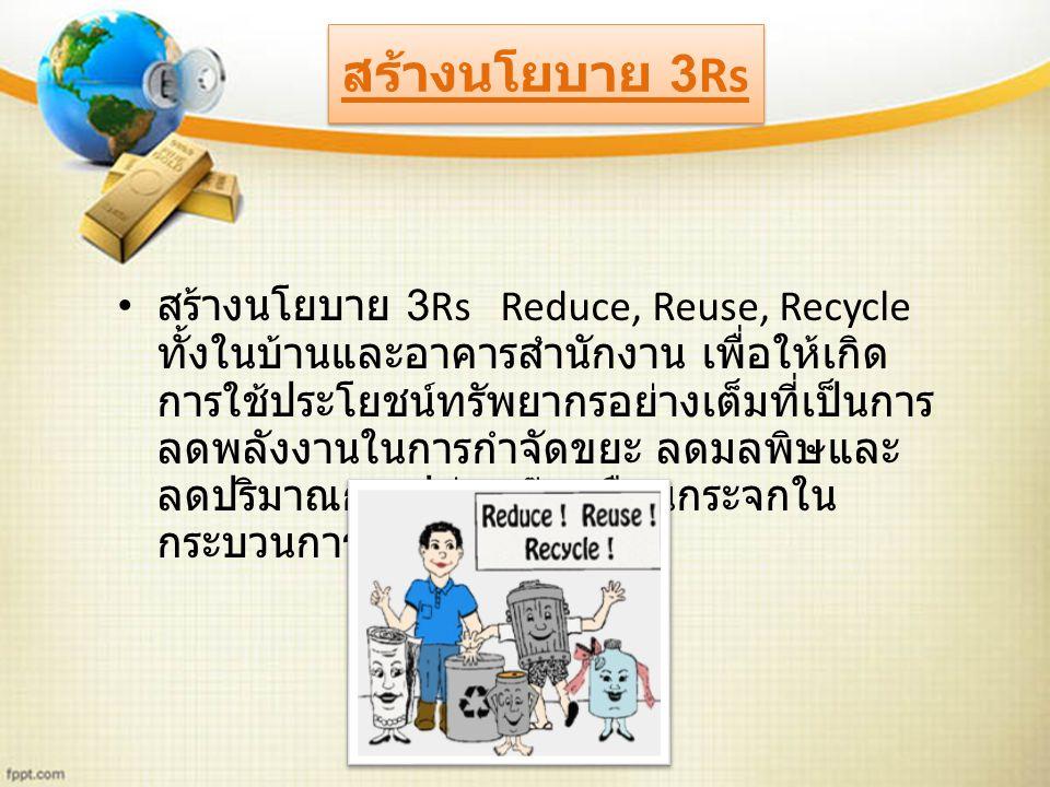 สร้างนโยบาย 3Rs Reduce, Reuse, Recycle ทั้งในบ้านและอาคารสำนักงาน เพื่อให้เกิด การใช้ประโยชน์ทรัพยากรอย่างเต็มที่เป็นการ ลดพลังงานในการกำจัดขยะ ลดมลพิษและ ลดปริมาณการปล่อยก๊าซเรือนกระจกใน กระบวนการกำจัด สร้างนโยบาย 3Rs
