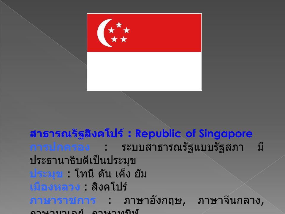 สาธารณรัฐสิงคโปร์ : Republic of Singapore การปกครอง : ระบบสาธารณรัฐแบบรัฐสภา มี ประธานาธิบดีเป็นประมุข ประมุข : โทนี ตัน เค็ง ยัม เมืองหลวง : สิงคโปร์ ภาษาราชการ : ภาษาอังกฤษ, ภาษาจีนกลาง, ภาษามาเลย์, ภาษาทมิฬ หน่วยเงินตรา : ดอลล่าร์สิงคโปร์