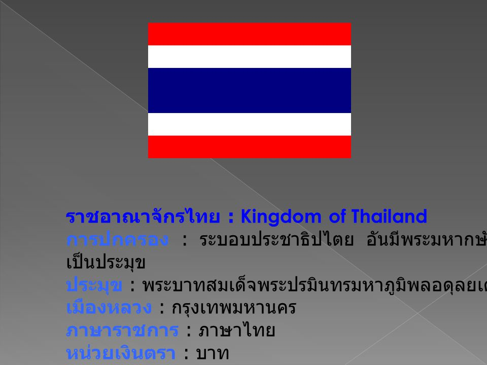 ราชอาณาจักรไทย : Kingdom of Thailand การปกครอง : ระบอบประชาธิปไตย อันมีพระมหากษัตริย์ เป็นประมุข ประมุข : พระบาทสมเด็จพระปรมินทรมหาภูมิพลอดุลยเดช เมืองหลวง : กรุงเทพมหานคร ภาษาราชการ : ภาษาไทย หน่วยเงินตรา : บาท