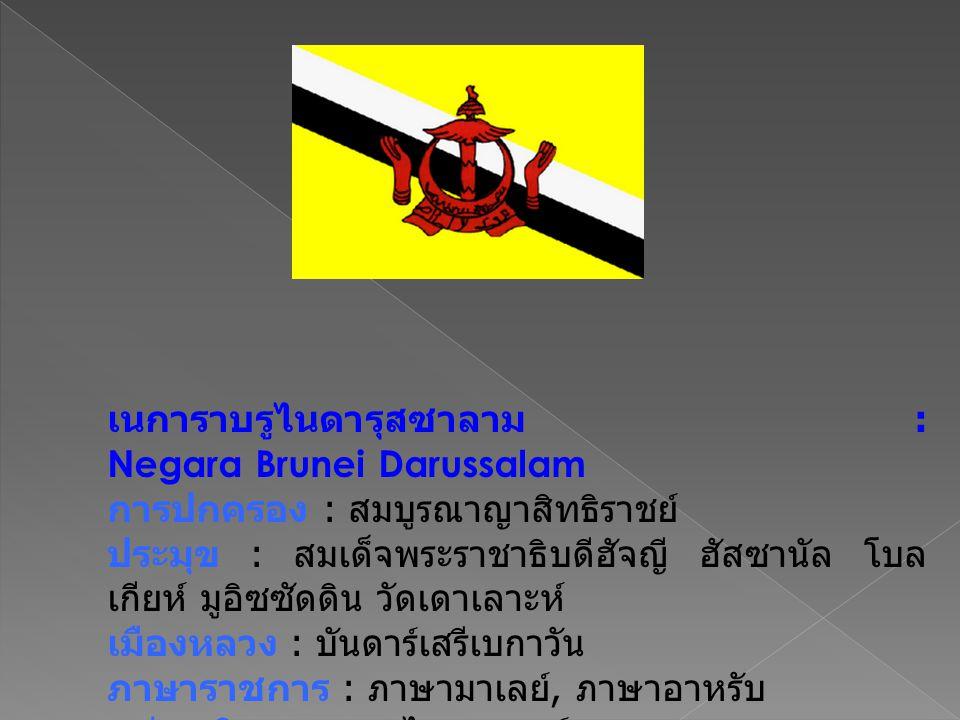 เนการาบรูไนดารุสซาลาม : Negara Brunei Darussalam การปกครอง : สมบูรณาญาสิทธิราชย์ ประมุข : สมเด็จพระราชาธิบดีฮัจญี ฮัสซานัล โบล เกียห์ มูอิซซัดดิน วัดเดาเลาะห์ เมืองหลวง : บันดาร์เสรีเบกาวัน ภาษาราชการ : ภาษามาเลย์, ภาษาอาหรับ หน่วยเงินตรา : บรูไนดอลลาร์