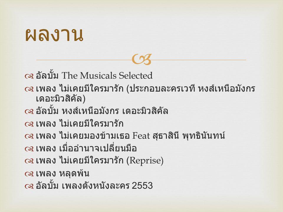   ตำแหน่งที่ได้รับ  รองชนะเลิศอันดับ 2 จาก เดอะสตาร์ 6  อัลบั้มรวม [ แก้ ]  อัลบั้ม เดอะสตาร์ 6  เพลง นิยาย  เพลง เพื่อดาวดวงนั้น  เพลง ยังไงก