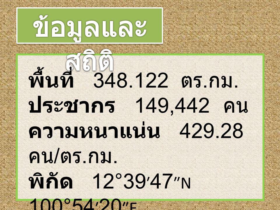 พื้นที่ 348.122 ตร. กม. ประชากร 149,442 คน ความหนาแน่น 429.28 คน / ตร. กม. พิกัด 12°39 ′ 47 ″N 100°54 ′ 20 ″E