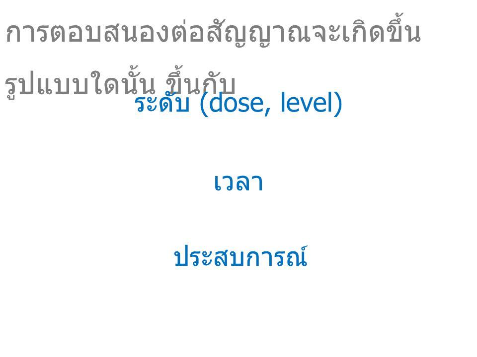 เวลา การตอบสนองต่อสัญญาณจะเกิดขึ้น รูปแบบใดนั้น ขึ้นกับ ระดับ (dose, level) ประสบการณ์