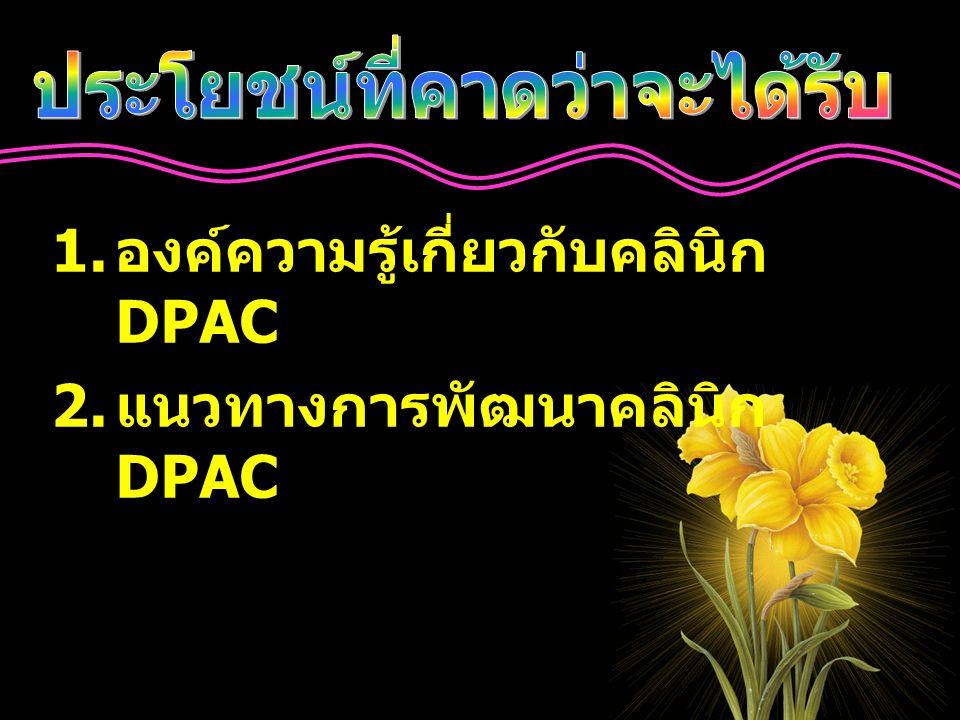 ศึกษากระบวนการ ดำเนินงาน - เกณฑ์คลินิก DPAC ทบทวนวรรณกรรม - คู่มือการดำเนินงานใน คลินิก DPAC สำหรับ เจ้าหน้าที่สาธารณสุข ( กองออกกำลังกาย ) - คู่มือการดำเนินการใน คลินิก DPAC ( ราย สถานบริการ ) ศึกษาความสำเร็จของหน่วยงาน คัดเลือกหน่วยงาน ต้นแบบ ขยายผลสู่หน่วยงาน อื่นๆ