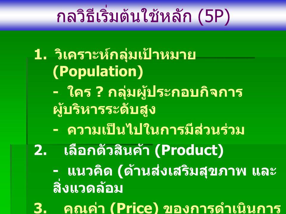 กลวิธีเริ่มต้นใช้หลัก (5 P ) 1.วิเคราะห์กลุ่มเป้าหมาย (Population) - ใคร .