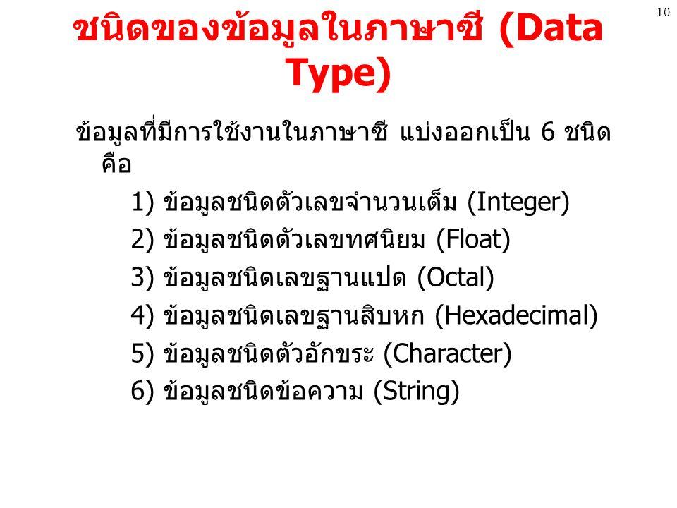 ชนิดของข้อมูลในภาษาซี (Data Type) ข้อมูลที่มีการใช้งานในภาษาซี แบ่งออกเป็น 6 ชนิด คือ 1) ข้อมูลชนิดตัวเลขจำนวนเต็ม (Integer) 2) ข้อมูลชนิดตัวเลขทศนิยม