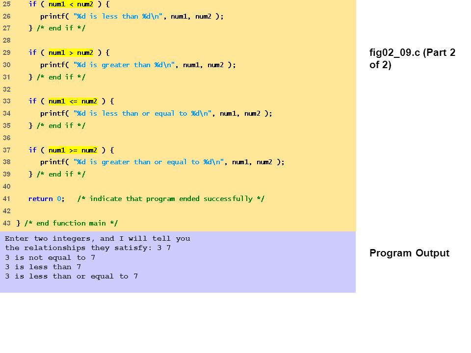 fig02_09.c (Part 2 of 2) Program Output Enter two integers, and I will tell you the relationships they satisfy: 3 7 3 is not equal to 7 3 is less than