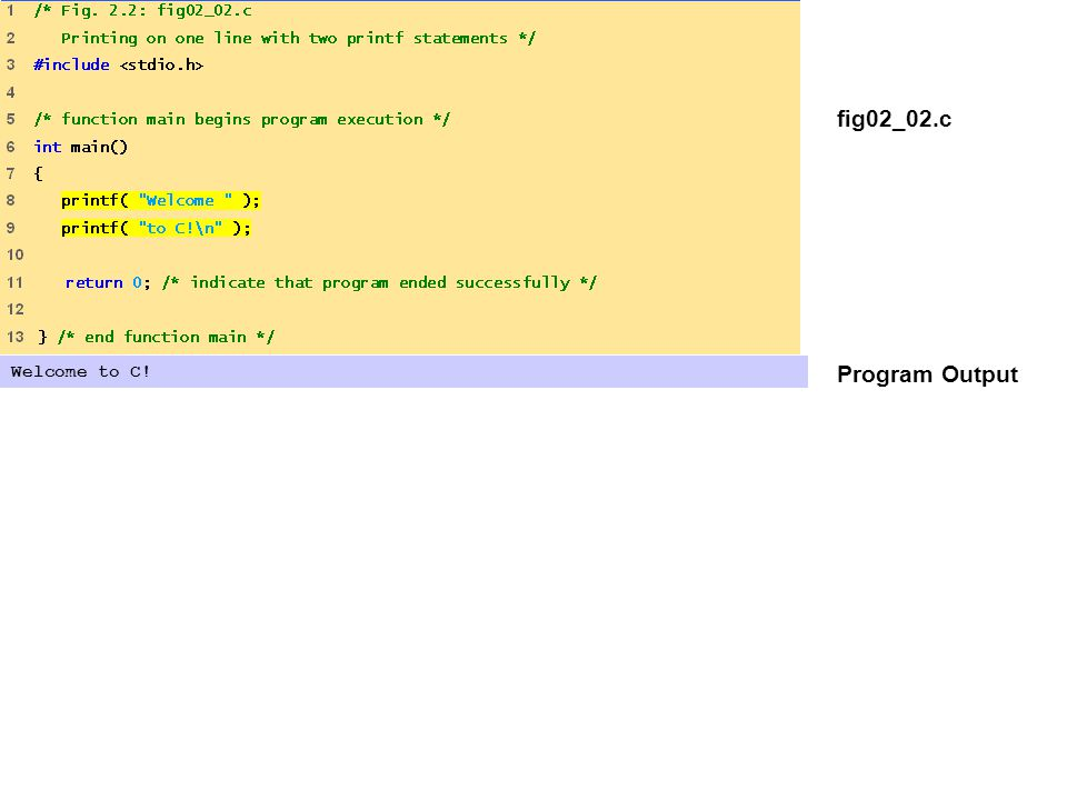 fig02_03.c Program Output Welcome to C!