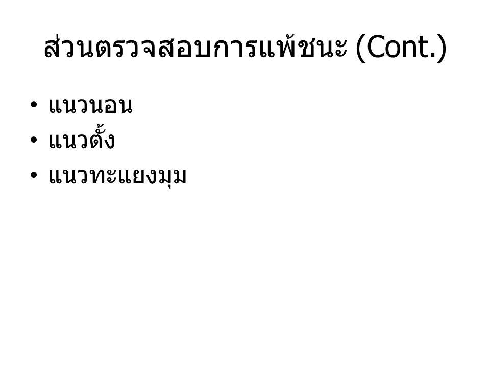 ส่วนตรวจสอบการแพ้ชนะ (Cont.) แนวนอน แนวตั้ง แนวทะแยงมุม