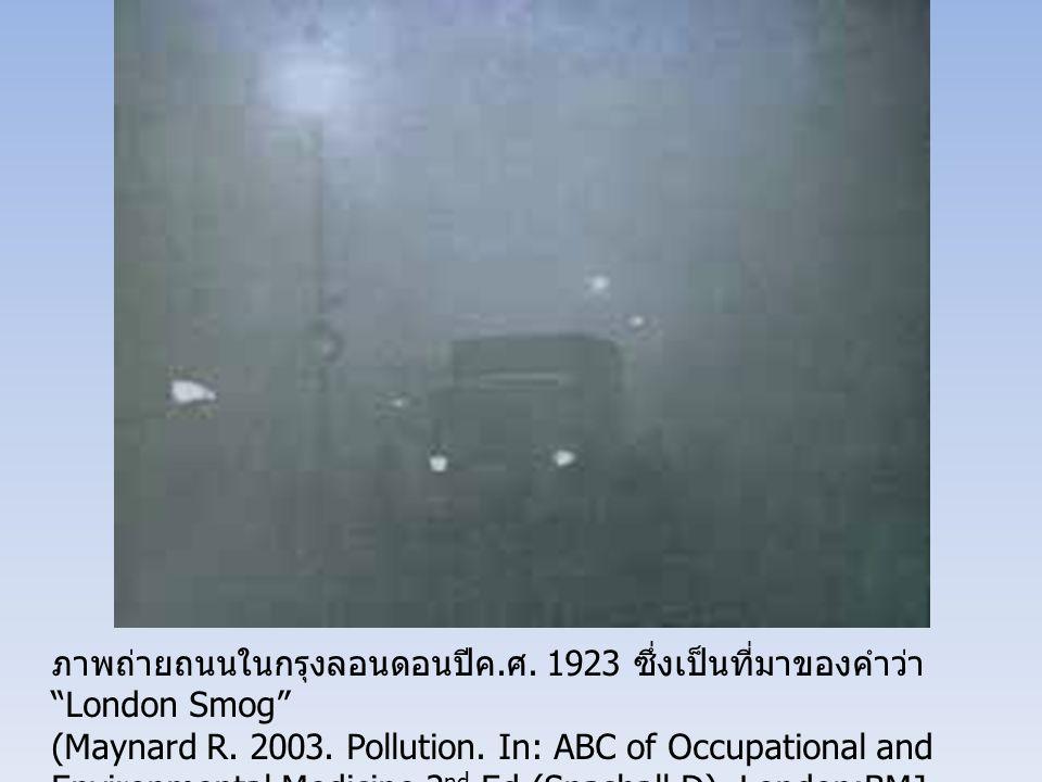 """ภาพถ่ายถนนในกรุงลอนดอนปีค. ศ. 1923 ซึ่งเป็นที่มาของคำว่า """"London Smog"""" (Maynard R. 2003. Pollution. In: ABC of Occupational and Environmental Medicine"""