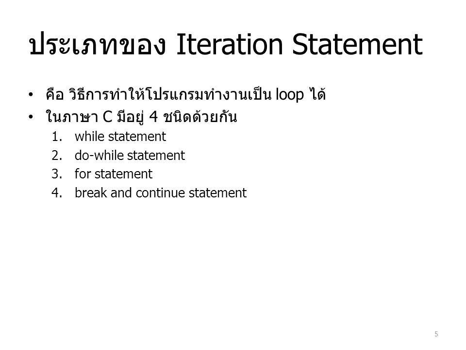 ประเภทของ Iteration Statement คือ วิธีการทำให้โปรแกรมทำงานเป็น loop ได้ ในภาษา C มีอยู่ 4 ชนิดด้วยกัน 1.while statement 2.do-while statement 3.for sta