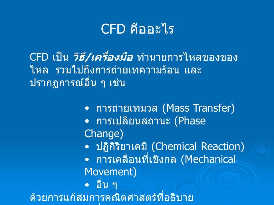 CFD คืออะไร CFD เป็น วิธี / เครื่องมือ ทำนายการไหลของของ ไหล รวมไปถึงการถ่ายเทความร้อน และ ปรากฏการณ์อื่น ๆ เช่น การถ่ายเทมวล (Mass Transfer) การเปลี่