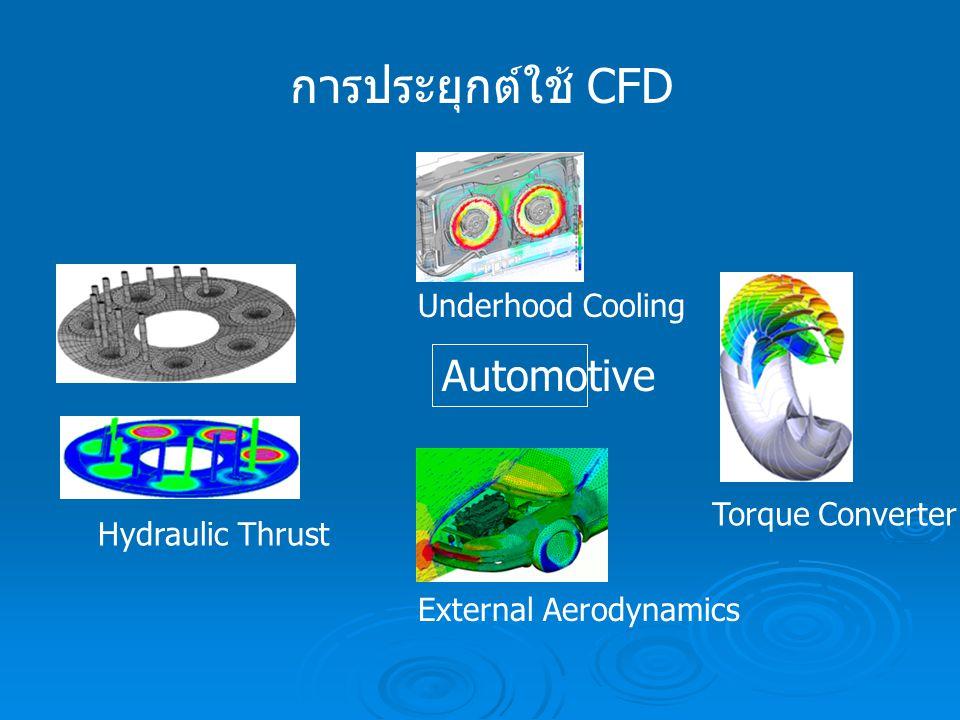 การประยุกต์ใช้ CFD Automotive Hydraulic Thrust Underhood Cooling External Aerodynamics Torque Converter