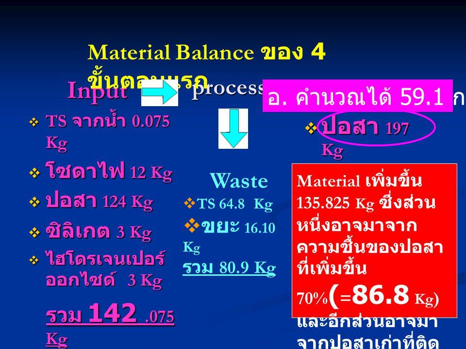 process Input Input  TS จากน้ำ 0.075 Kg  โซดาไฟ 12 Kg  ปอสา 124 Kg  ซิลิเกต 3 Kg  ไฮโดรเจนเปอร์ ออกไซด์ 3 Kg รวม 142.075 Kg รวม 142.075 Kg Output