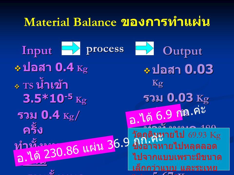 Material Balance ของการทำแผ่น Input Input  ปอสา 0.4 Kg  TS น้ำเข้า 3.5*10 -5 Kg รวม 0.4 Kg / ครั้ง รวม 0.4 Kg / ครั้ง ทำทั้งหมด 189 แผ่น รวมทั้งหมด