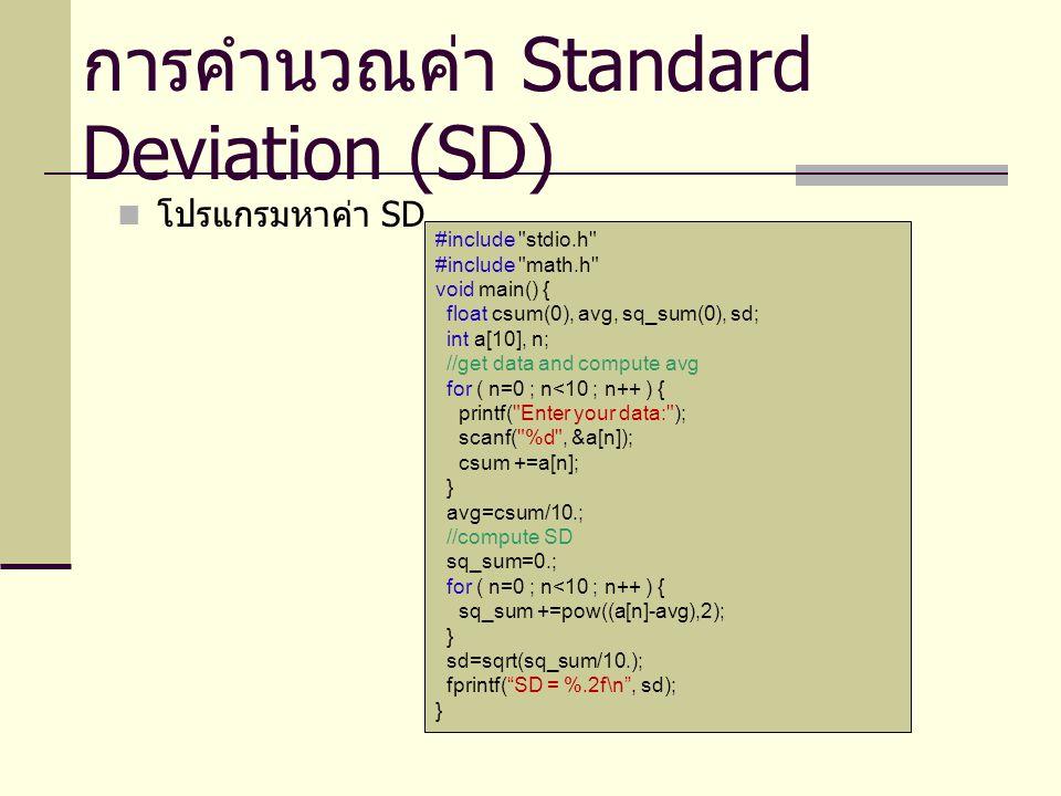 โปรแกรมหาค่า SD การคำนวณค่า Standard Deviation (SD) #include