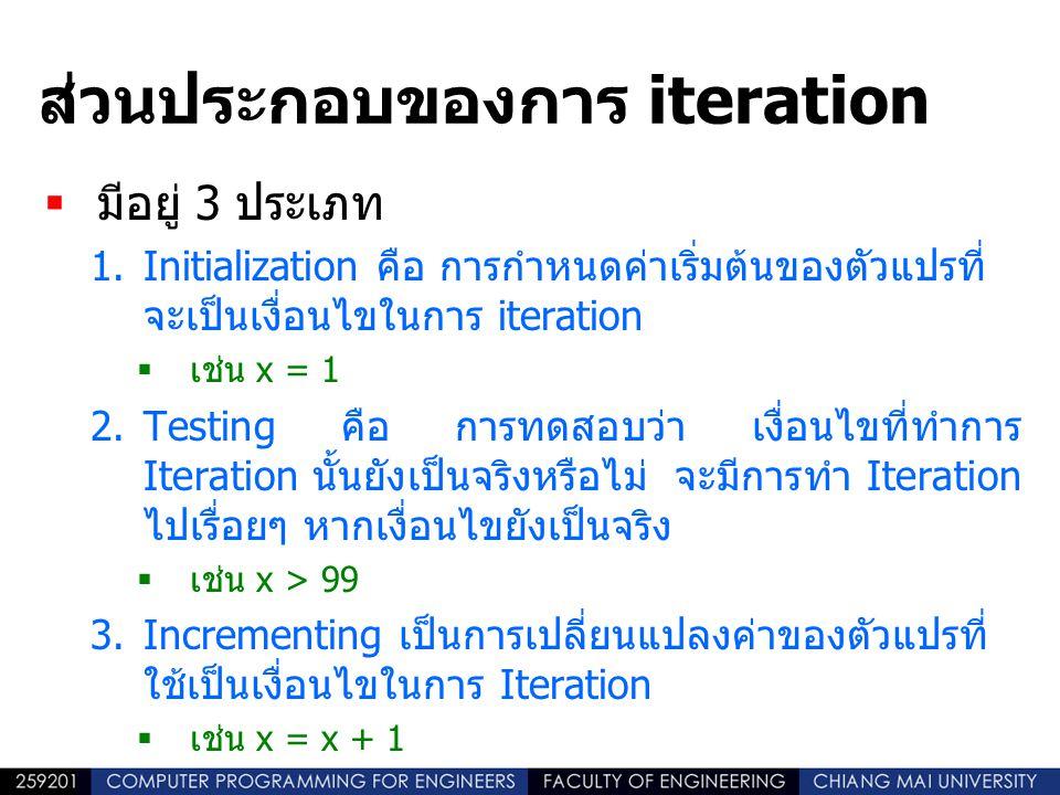 ส่วนประกอบของการ iteration  มีอยู่ 3 ประเภท 1. Initialization คือ การกำหนดค่าเริ่มต้นของตัวแปรที่ จะเป็นเงื่อนไขในการ iteration  เช่น x = 1 2. Testi