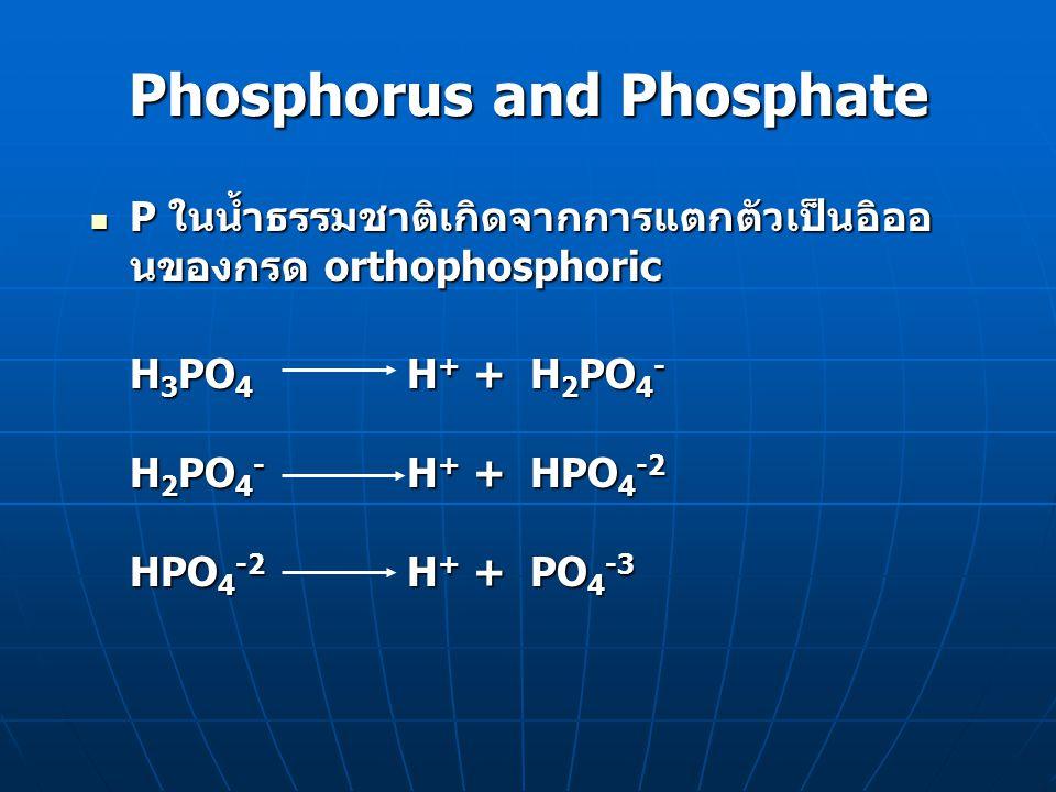 Phosphorus and Phosphate P ในน้ำธรรมชาติเกิดจากการแตกตัวเป็นอิออ นของกรด orthophosphoric P ในน้ำธรรมชาติเกิดจากการแตกตัวเป็นอิออ นของกรด orthophosphor