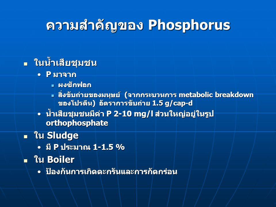 ความสำคัญของ Phosphorus ในบ่อปลาและบ่อบำบัดน้ำเสีย ในบ่อปลาและบ่อบำบัดน้ำเสีย พบในรูปละลายน้ำหรืออนุภาคแขวนลอยพบในรูปละลายน้ำหรืออนุภาคแขวนลอย มีทั้งสารอนินทรีย์และอินทรีย์มีทั้งสารอนินทรีย์และอินทรีย์ เป็นอาหารที่สำคัญต่อผลผลิตสัตว์น้ำเป็นอาหารที่สำคัญต่อผลผลิตสัตว์น้ำ orthophosphate ควรมีอยู่ 0.1-0.5 mg/l ถ้ามีน้อย เติมปุ๋ยฟอสเฟตorthophosphate ควรมีอยู่ 0.1-0.5 mg/l ถ้ามีน้อย เติมปุ๋ยฟอสเฟต ถ้าน้ำในบ่อมีแคลเซียม และ pH สูง ฟอสเฟตจะตกผลึก ในรูป calcium phosphate ทำให้ orthophosphate ลดลง การเติมปุ๋ยในน้ำที่กระด้าง ให้เติม ammonium phosphate แทน calcium phosphateถ้าน้ำในบ่อมีแคลเซียม และ pH สูง ฟอสเฟตจะตกผลึก ในรูป calcium phosphate ทำให้ orthophosphate ลดลง การเติมปุ๋ยในน้ำที่กระด้าง ให้เติม ammonium phosphate แทน calcium phosphate