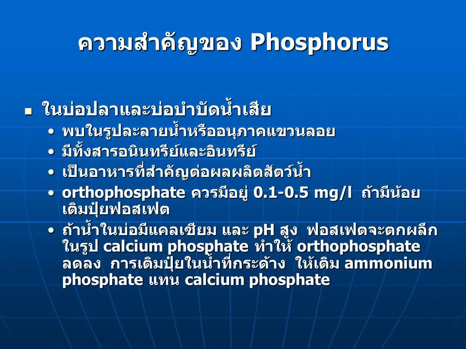 วิธีการวิเคราะห์ Orthophosphate Orthophosphate Colorimetric methodColorimetric method PO 4 -3 + 12 (NH 4 ) 2 MoO 4 + 12 H + (NH 4 )3PO 4.12MoO 3 + 21 NH 4 + + 12 H 2 O (NH 4 )3PO 4.12MoO 3 + 21 NH 4 + + 12 H 2 O Molybdenum blue + Sn +4 Molybdenum blue + Sn +4 ถ้า phosphate > 30 mg/l A จะกรองออกมาชั่งได้ ถ้า phosphate 30 mg/l A จะกรองออกมาชั่งได้ ถ้า phosphate < 30 mg/l จะเติม stannous หรือ ascorbic acid เพื่อ reduce A ให้เกิดสาร molybdenum สีน้ำเงิน (A) Sn +2