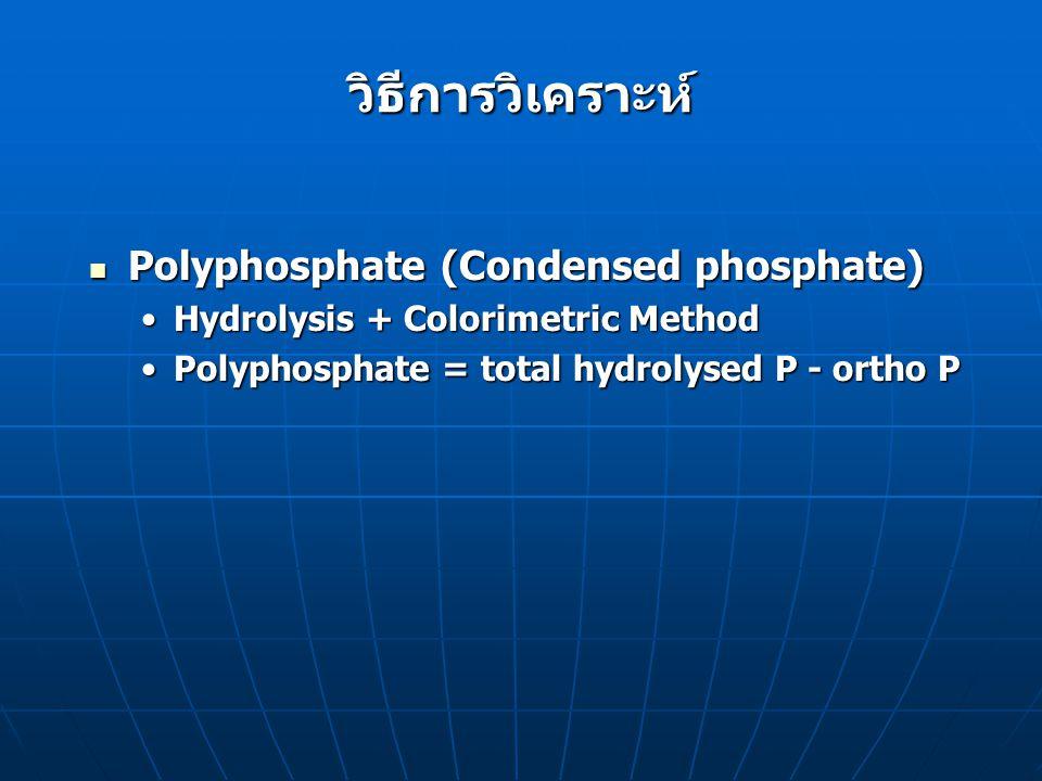 วิธีการวิเคราะห์ Organic Phosphorus Organic Phosphorus Digestion + Colorimetric MethodDigestion + Colorimetric Method org-P = total P- total inorg-Porg-P = total P- total inorg-P Digestion Digestion Perchloric acid ใช้กับสารอินทรีย์ที่ย่อยยากPerchloric acid ใช้กับสารอินทรีย์ที่ย่อยยาก Nitric acid - Sulfuric acid ใช้กับสารอินทรีย์ที่ ย่อยได้ปานกลางNitric acid - Sulfuric acid ใช้กับสารอินทรีย์ที่ ย่อยได้ปานกลาง Persulfate ใช้กับสารอินทรีย์ที่ย่อยได้ง่ายPersulfate ใช้กับสารอินทรีย์ที่ย่อยได้ง่าย