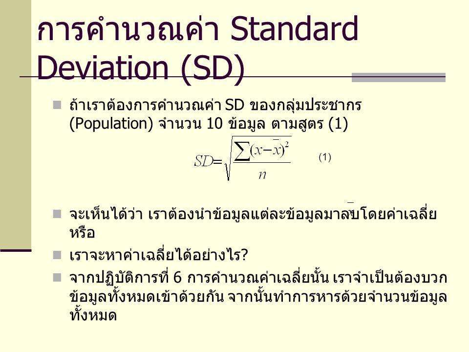 การคำนวณค่า Standard Deviation (SD) ถ้าเราต้องการคำนวณค่า SD ของกลุ่มประชากร (Population) จำนวน 10 ข้อมูล ตามสูตร (1) จะเห็นได้ว่า เราต้องนำข้อมูลแต่ละข้อมูลมาลบโดยค่าเฉลี่ย หรือ เราจะหาค่าเฉลี่ยได้อย่างไร .